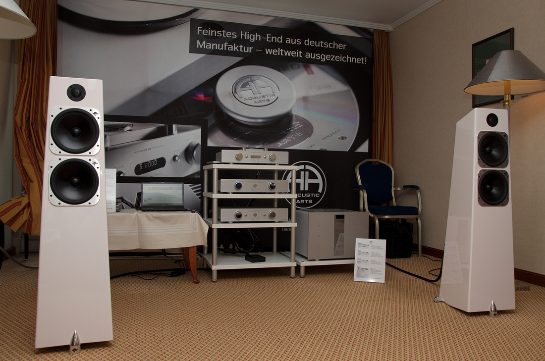 standout room at Klangbilder 2012 fair in Vienna: Accustic Arts reference line with Totem Acoustic Elements Metal loudspeakers.