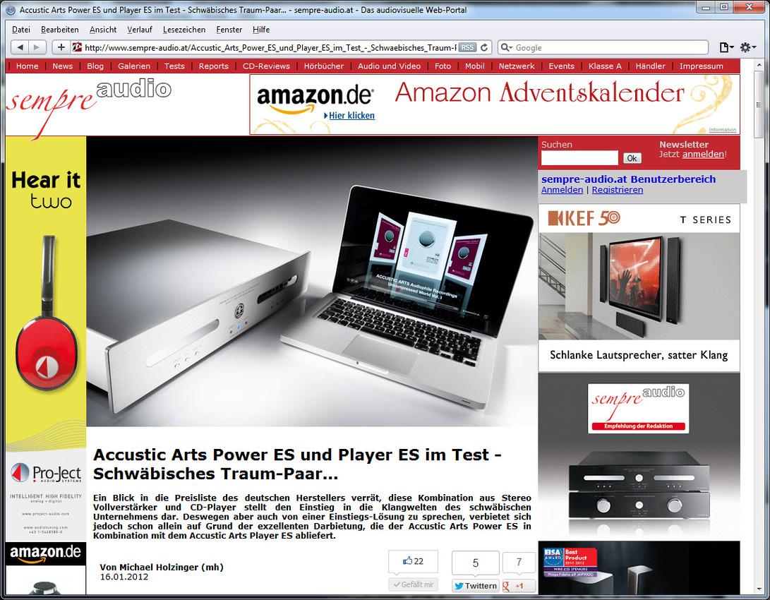 Accustic Arts ES electronis tested in webzine Sempre Audio