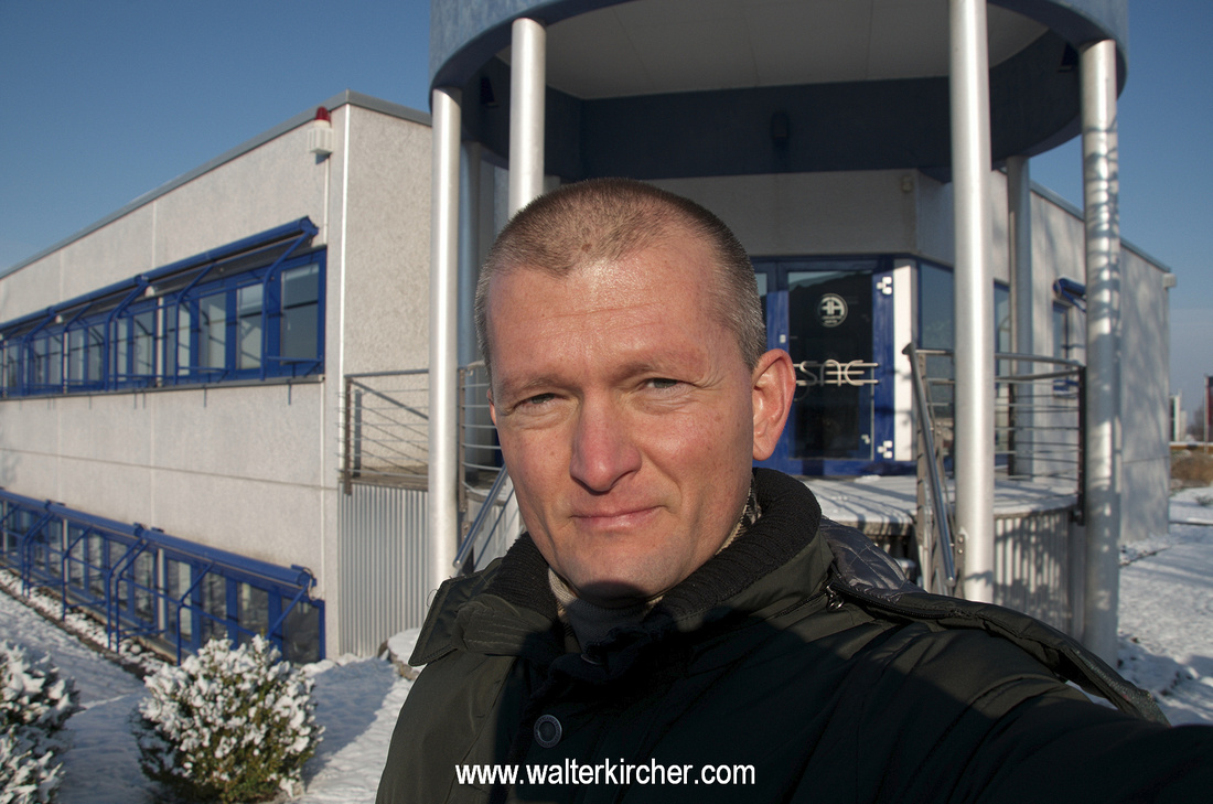 Walter Kircher, sales agent for Accustic Arts in Austria standing in front of Accustic Arts headquarter in Lauffen, Germany.