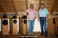 Blumenhofer Acoustics showroom: from left to right Andrea Vitali (Blumenhofer Acoustics) and Walter Kircher