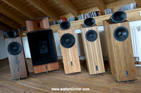 Blumenhofer Acoustics showroom, from left to right: two times Genuin FS2 and Grand Gioa, two times Big Fun 20