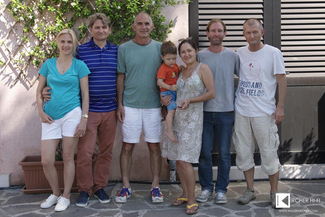 group photo - from left to right: Yuri Zamazeev with his wife Anna, Mark Levinson, my wife Dzhamilya with Alexander, myself and Bjoern Gabriel (Daniel Hertz SA)