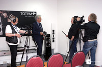 German STEREO MAGAZIN crew making a movie in Totem Acoustic room.