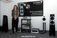 Jasmin Weilenmann, CEO of Swiss High End Company AG,  in front of the reference setup with Totem Element loudspeakers and big VTL tube amps!