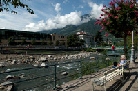 Merano, South Tyrol - view to Therme Merano with Etsch river