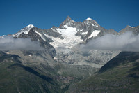 Blauherd, 2580m - looking to west: Obergabelhorn 4063m (front mid) and Dent Blanche 4357m (back left)