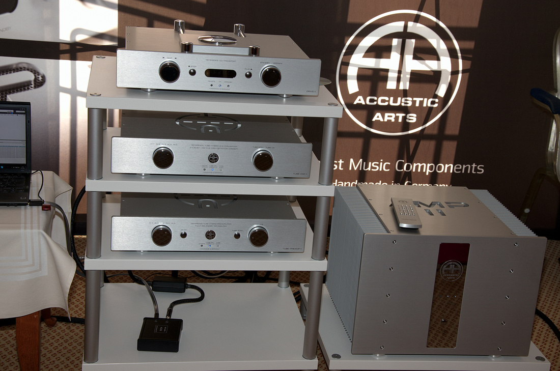 The complete Accustic Arts reference line electronics with Drive 2, Tube Dac 2, Tube Preamp and Amp 2 at Klangbilder fair 2012 in Vienna.