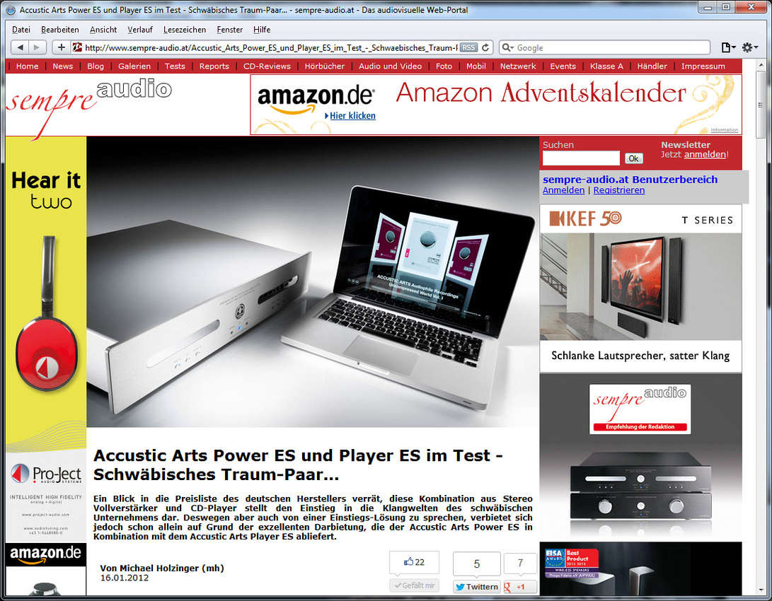 Accustic Arts ES electronis tested in webzine Sempre Audio
