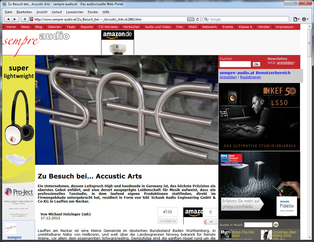 Sempre Audio wrote an article about the Accustic Arts factory visit 2012