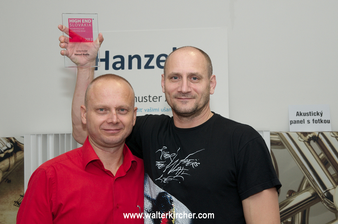 "High End Slovakian employee presents Milan Hanzel the Award ""Excellent sound at the High End Slovakia 2013""!"