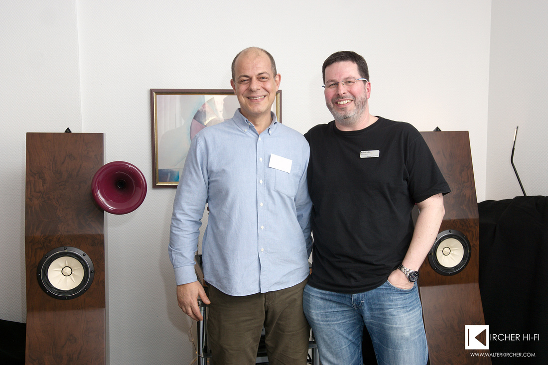 Manolis Proestakis with Frank Hakopians, who wrote the review of Marvel speakers