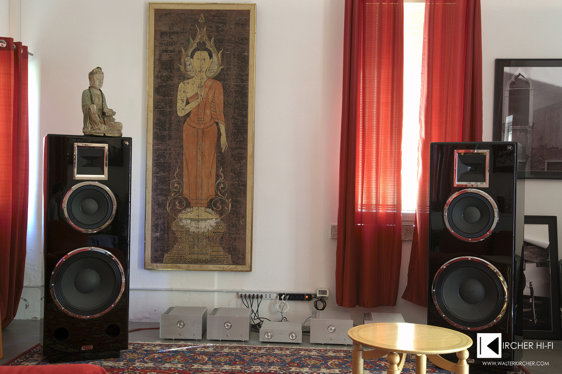 "Daniel Hertz M1 3-way flagship speakers - 100dB with only 1 Watt - 18"" woofer, 12"" midrange - driven by 4 DH M5 TELIKOS mono amps"