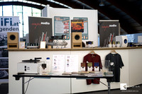 in front of Sempre Audio booth you see the table prepared for daily record cleaning workshops