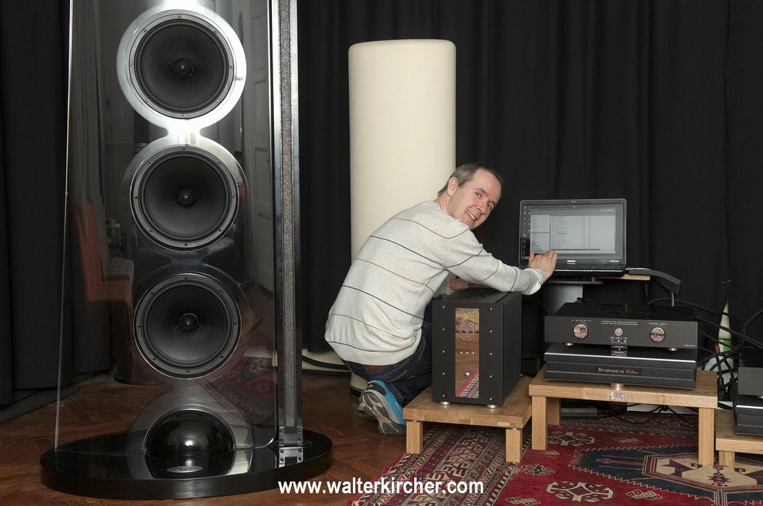 Miro Krajnc - SoulSonic Speakers with whole setup: Accustic Arts reference electronics, SoulSonic Impulse SE flagship speakers, Symposium Acoustics platforms, Vovox cables